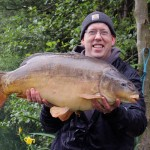 28 lb mirror carp from Cherry lakes UK caught on a freezer boilie and corn