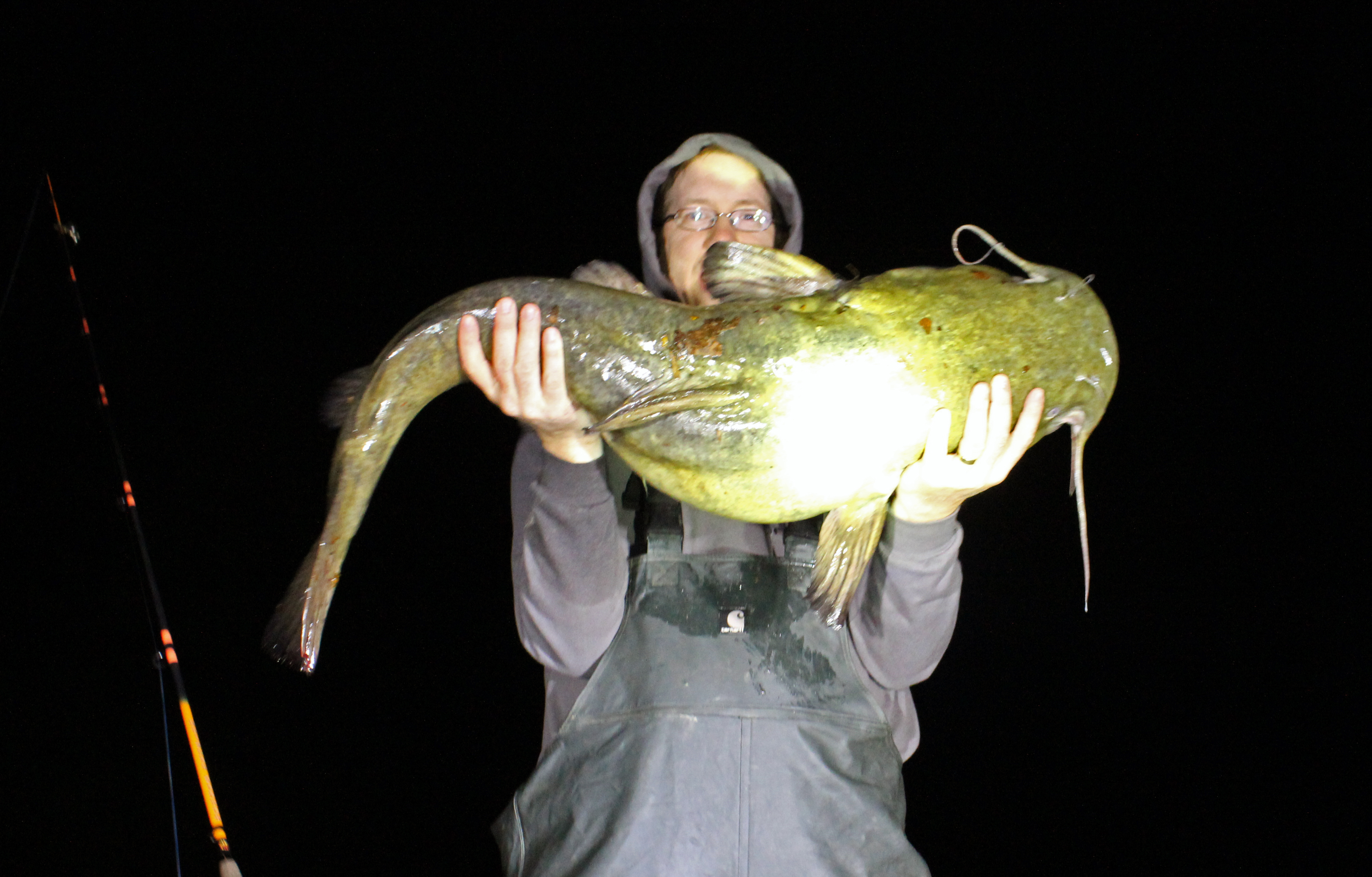 40.5 lb flathead caught on live shad.
