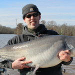 69 lb 49 inch blue catfish caught on the James River on cut shad and a fish finder rig.