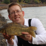 A crucian carp caught on sweet corn