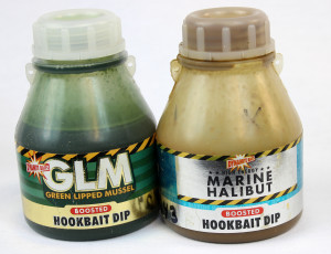 Green Lipped Mussel and Marine Halibut flavored dip baits are great to soak your catfish bait in.