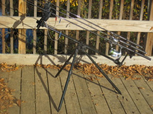 Catfishing Equipment: A 3-rod rod holder with bite alarms allows you to use your rod holder on any surface.