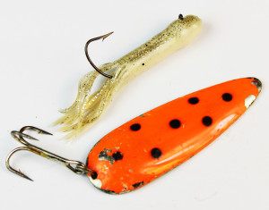 Two great catfish lures. A jig and a spoon.