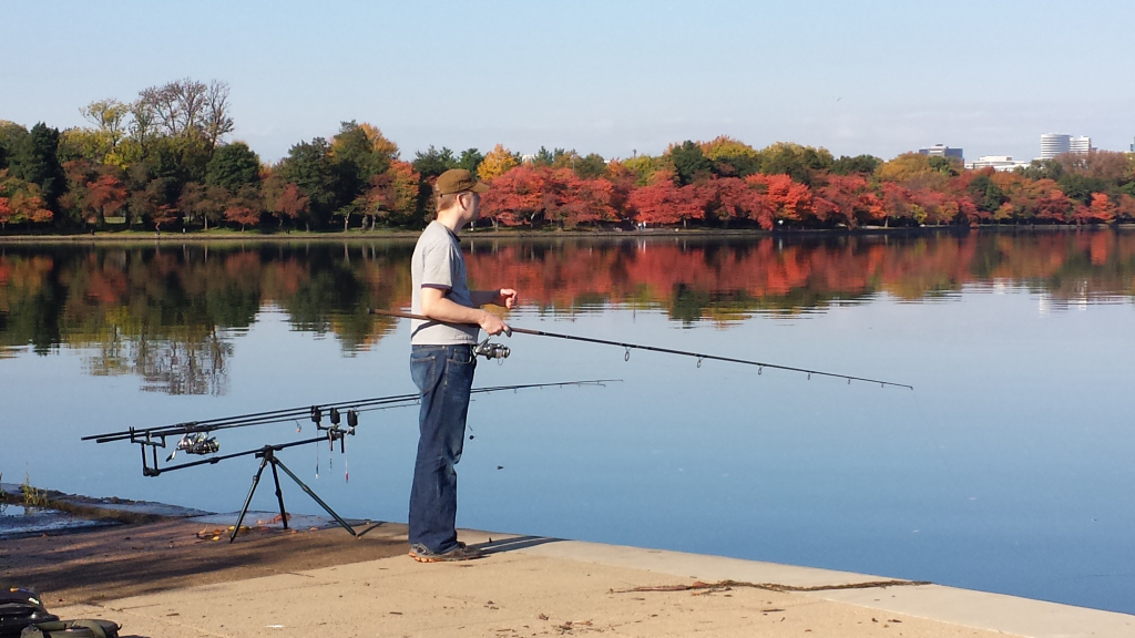 A beautiful day fishing with my usual three rod set up on bit alarms.