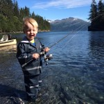 My son Tommy salmon fishing in Whittier Alaska