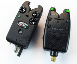 Catfishing Equipment: A Delkim Txi Plus (left) and a Chub Neuron T5 bite alarm (right). These electronic bite alarms tell you when you are getting action.