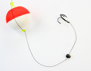 Catfish Rigs: Bobber with split shot lead and a treble hook