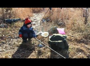 Father and Son winter cat fishing trip